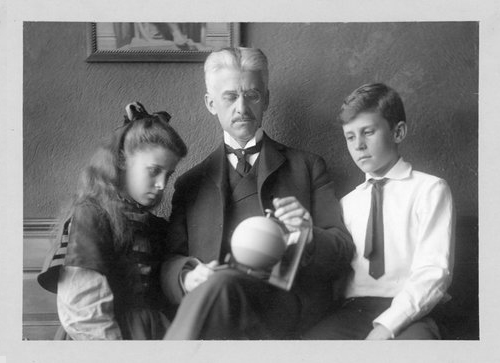"Munsell with his children Margret and A.E.O Munsell ""It may sound strange to say that color has three dimensions, but it is easily proved by the fact that each of them can be measured.""   A Color Notation 1905"